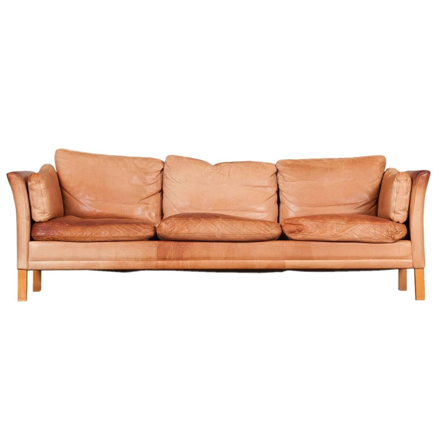 Danish Three Seater Sofa With Light Tan Leather 1960s At 1stdibs