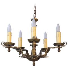 Antique English Tudor 1920s Brass Five-Light Chandelier