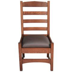1910 Arts and Crafts Mission Oak Ladder-Back Chair
