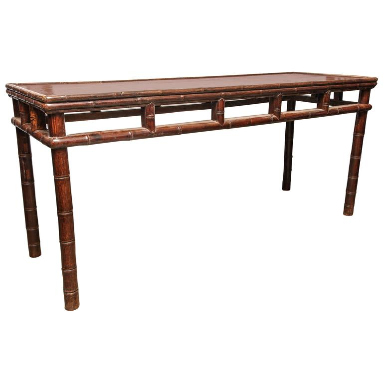 18th Century Long Console Table with Bamboo-Style Carving, Shanxi, China