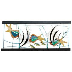 Large Aquarium Wall Sculpture by Curtis Jere, 1987
