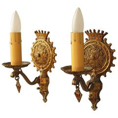 Pair of 1920s Ornately Cast Sconces