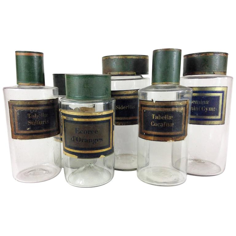 set of six french 19th century blown glass apothecary jars. Black Bedroom Furniture Sets. Home Design Ideas