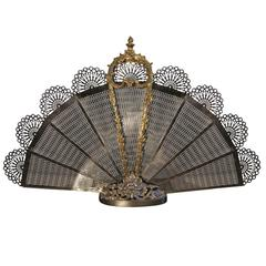 Exceptional Bronze and Iron Fire Place Screen in a Peacock Fan Design
