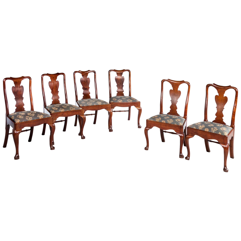 Set of Six George I Period Solid Walnut Chairs
