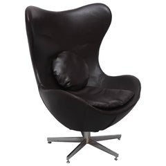 Leather Egg Chair in Arne Jacobsen Style, Denmark, 1960s