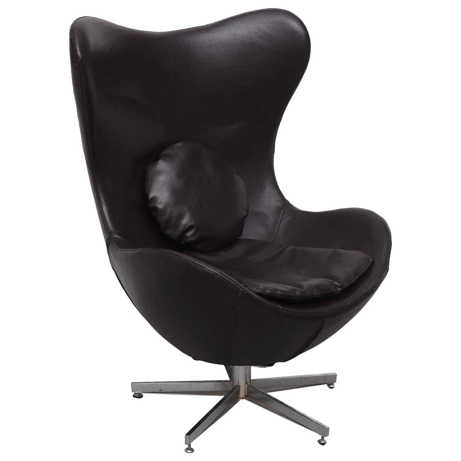 Leather Egg Chair In Arne Jacobsen Style Denmark 1960s