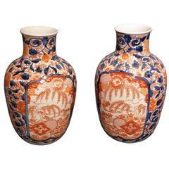 Pair of Long Neck Imari Vases