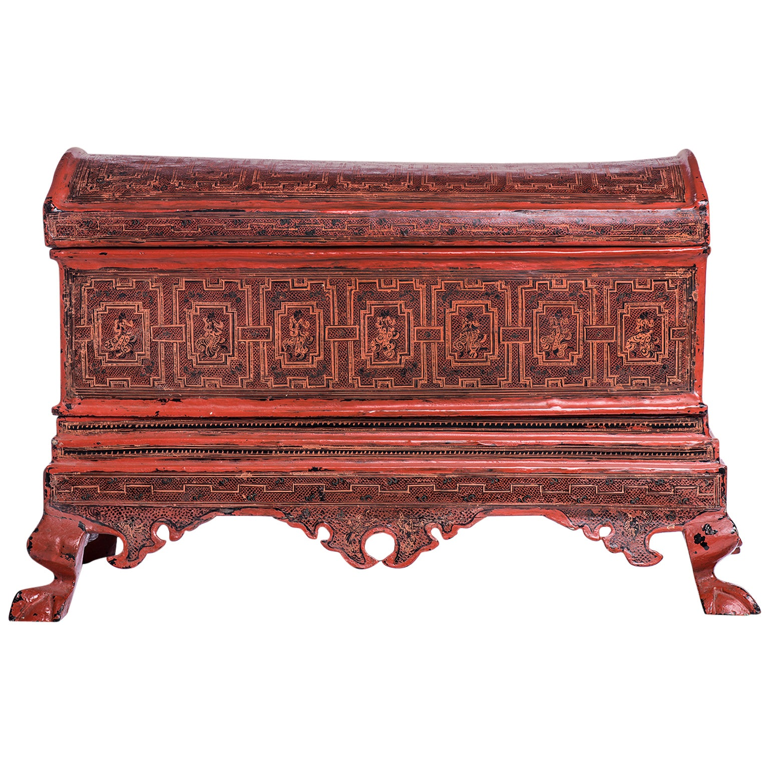 Burmese  Lacquered and Engraved Wooden Box