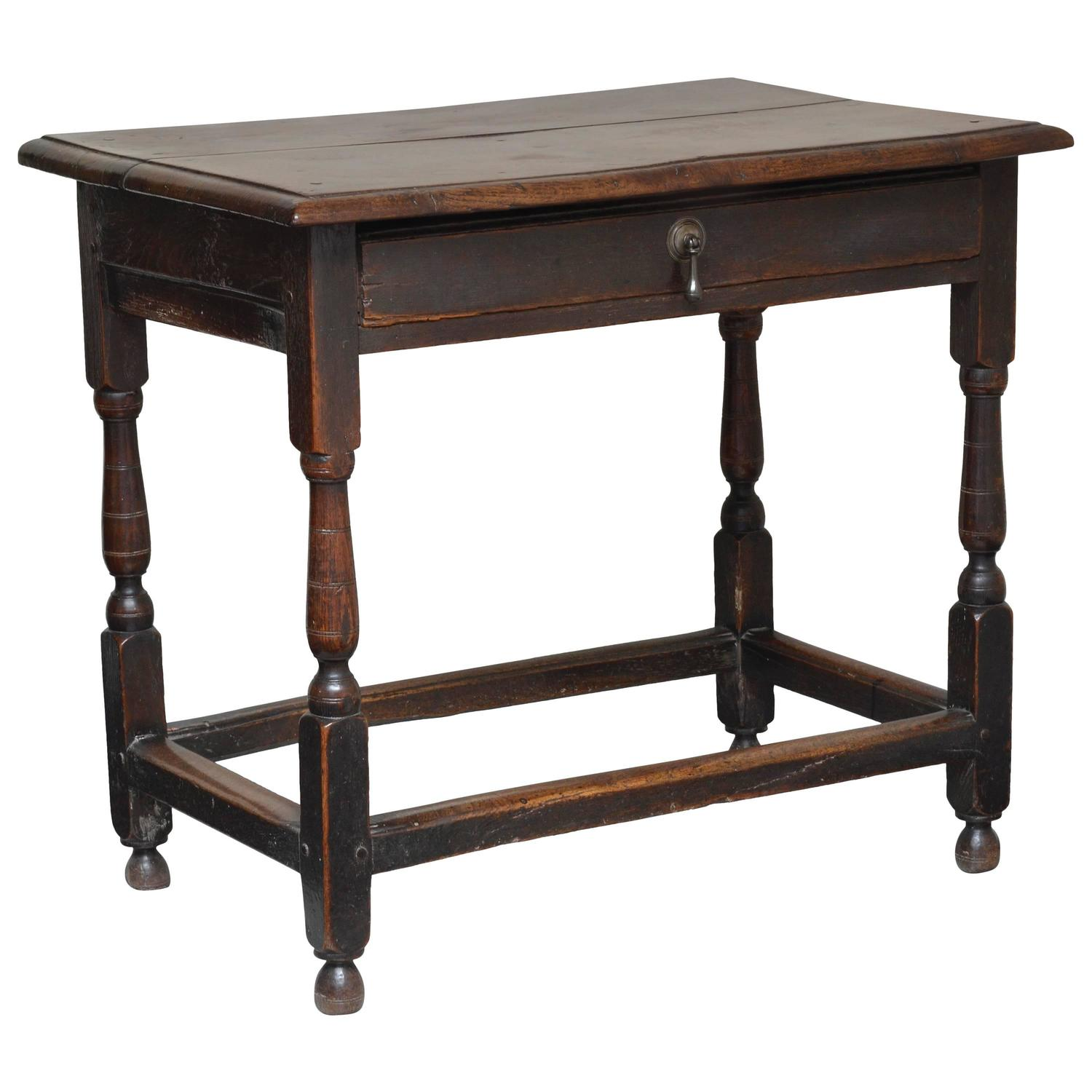 Oak Side Table With Single Drawer English William And Mary Circa . Full resolution  photograph, nominally Width 1500 Height 1500 pixels, photograph with #936138.