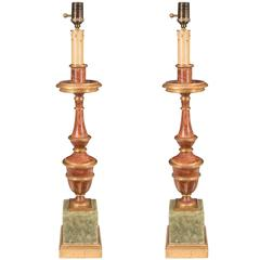 Pair of Early 20th Century Italian Gilded and Painted Candlestick Lamps