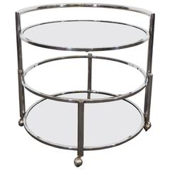 Midcentury Adjustable Round Occasional Table in Chrome & Smoked Glass on Casters