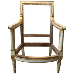 19th Century Directoire Armchair Frame from Chateau Fontainebleau