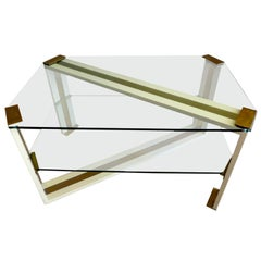Italian Glass and Brass Coffee Table