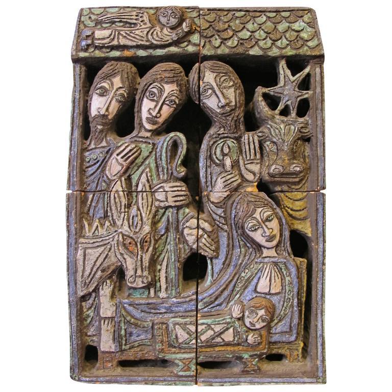 "Ceramic Sculpture ""Nativite"" by the Artist Bernard Marliengas For Sale"