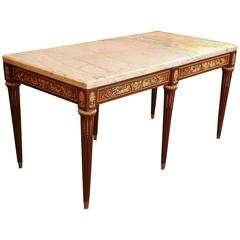 French Louis XVI Style Salon Table with Gilt Bronze Ormolu and Marble Top