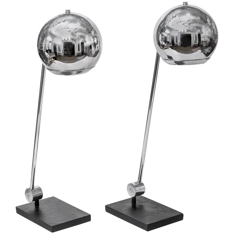 Pair of Polished Metal Orb Table Lamps by Robert Sonneman