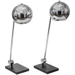 Pair of Polished Metal Orb Table Lamps by Robert Sonneman
