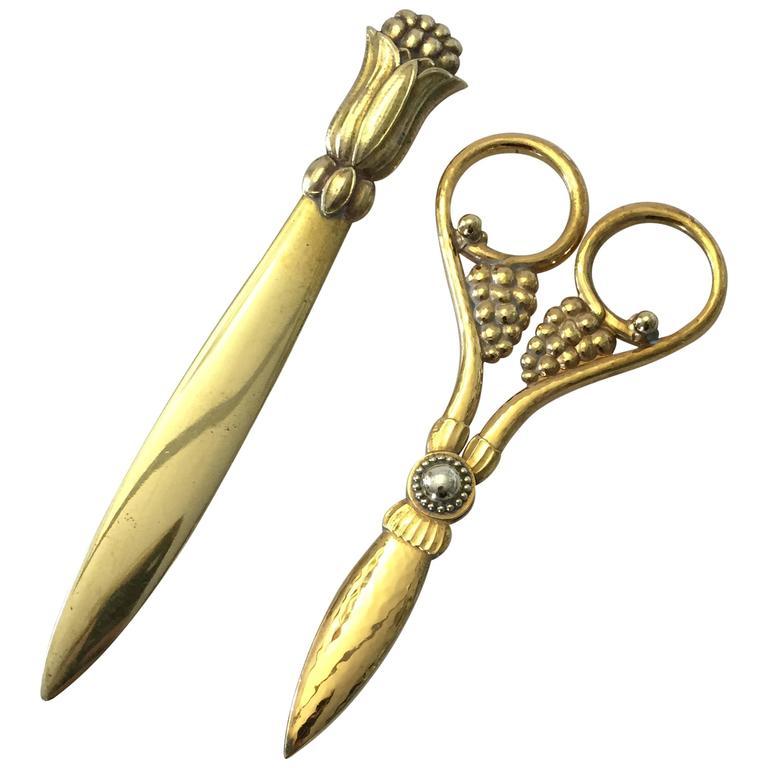Georg Jensen Copper Grape Scissor and Letter Knife