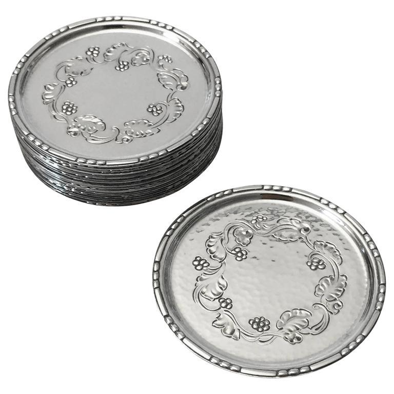 georg jensen sterling silver harald nielsen glass coasters. Black Bedroom Furniture Sets. Home Design Ideas