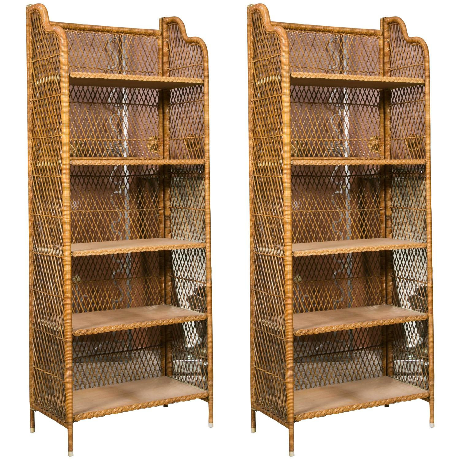 Pair Of 1970s Wicker Bookcases At 1stdibs