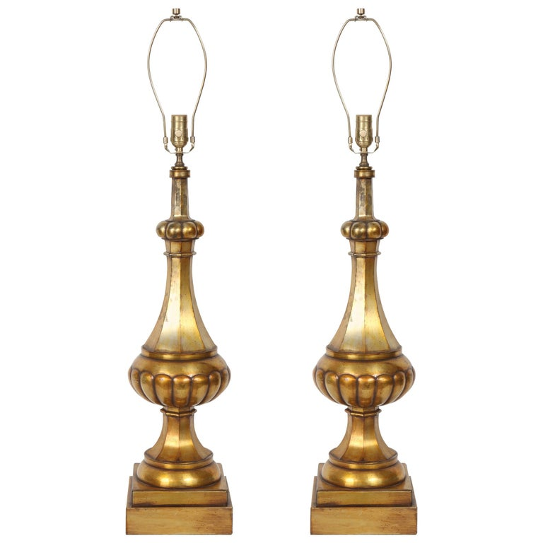 Marbro Moroccan Gold Glazed Melon Form Lamps For Sale