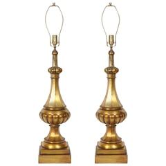 Marbro Moroccan Gold Glazed Melon Form Lamps