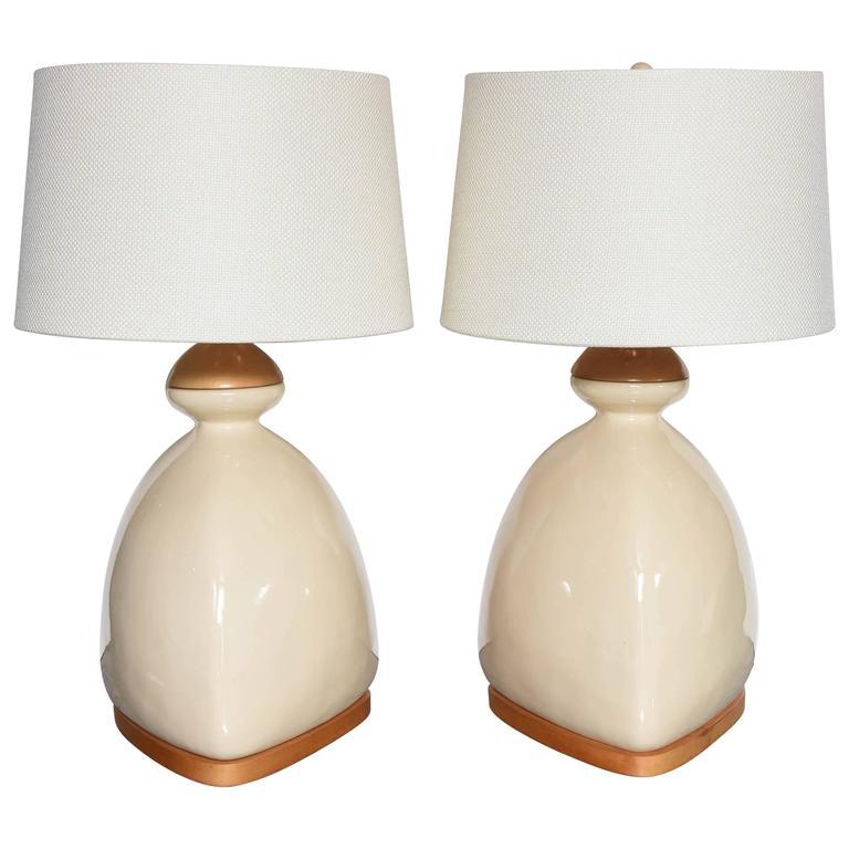 SALE!SALE! SALE! PR/Scandinavian Table Lamps Modernism, Beche Ceramic  and wood