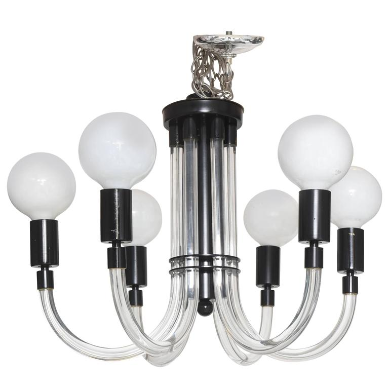 SALE SALE11LUCITE CHANDELIER Charles Hollis Jones BLACK,WHITE 6 ARMS from $1800 For Sale