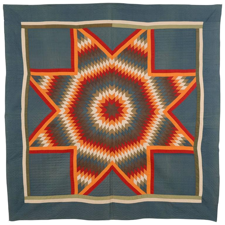 Blazing Lone Star Quilt For Sale