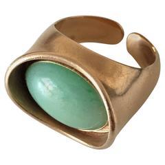 Bent Knudsen 14K Gold Ring #39 with Chrysoprase