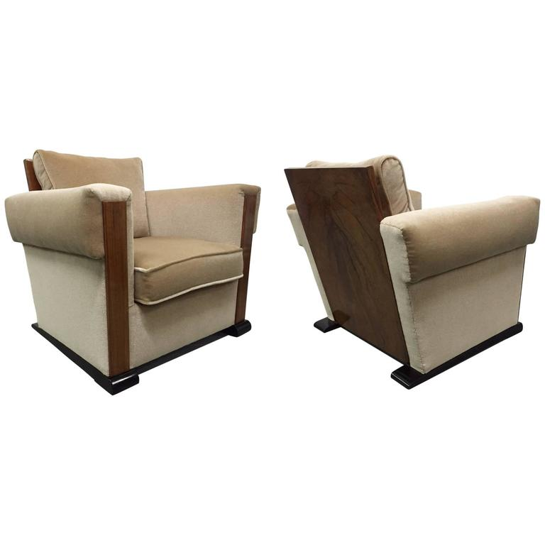 Pair of French Art Deco Lounge Chairs in Mohair For Sale