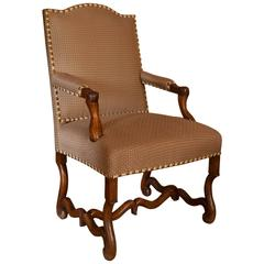 18th Century, French Walnut Os de Mouton Armchair