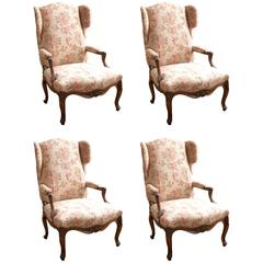Louis XV Style Walnut Wing Chairs
