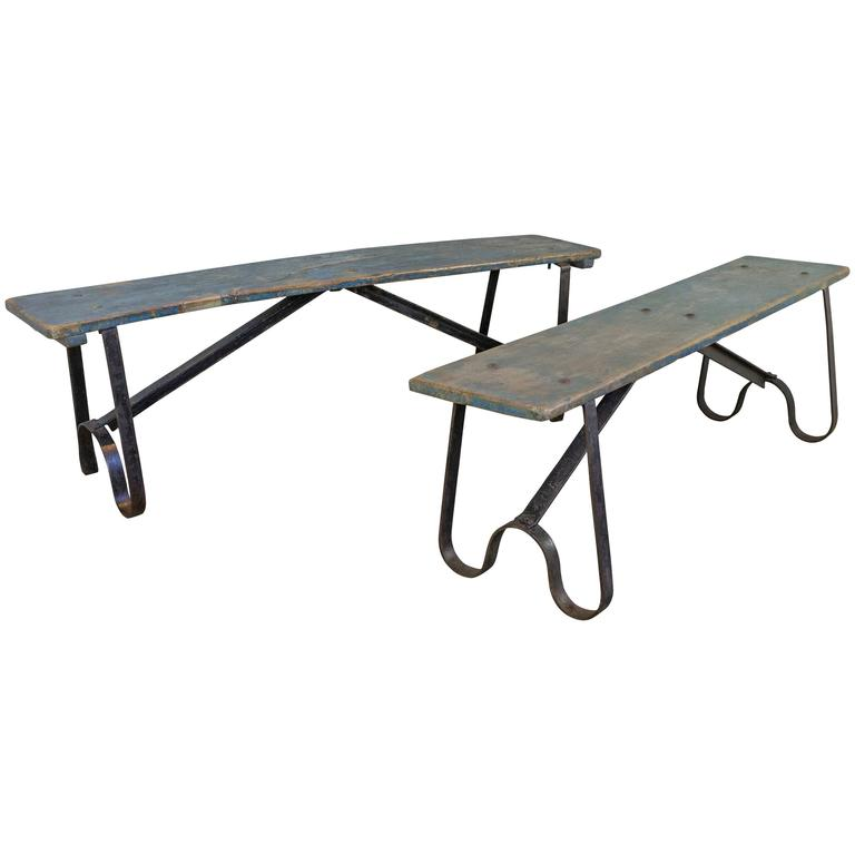 Pair of French Industrial Benches
