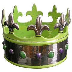 Italian Majolica Crown Bowl in Lime Green with Platinum Finish
