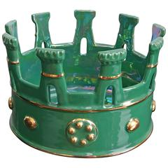 Majolica Crown in Hunter Green with Gold Finishes