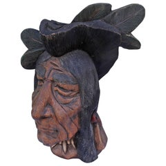 19th Century Original Painted Cigar Store Indian Head Carving