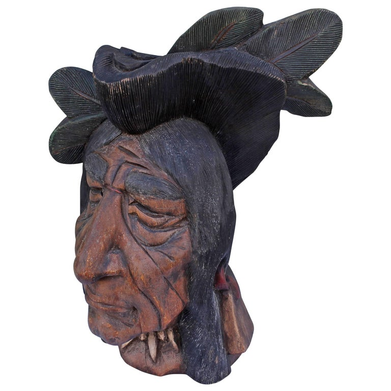 19th Century Original Painted Cigar Store Indian Head Carving For Sale