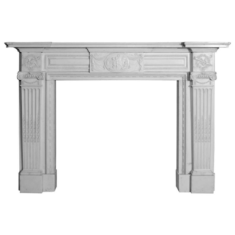 antique 19th century white statuary marble fireplace