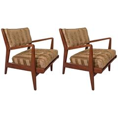 Pair of Mid-Century Jens Risom Walnut Occasional Armchairs in Striped Chenille