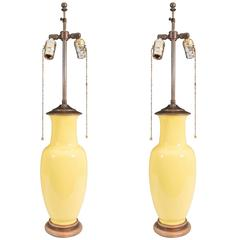 Pair of Ceramic Yellow Table Lamps as Chinese Ginger Jars