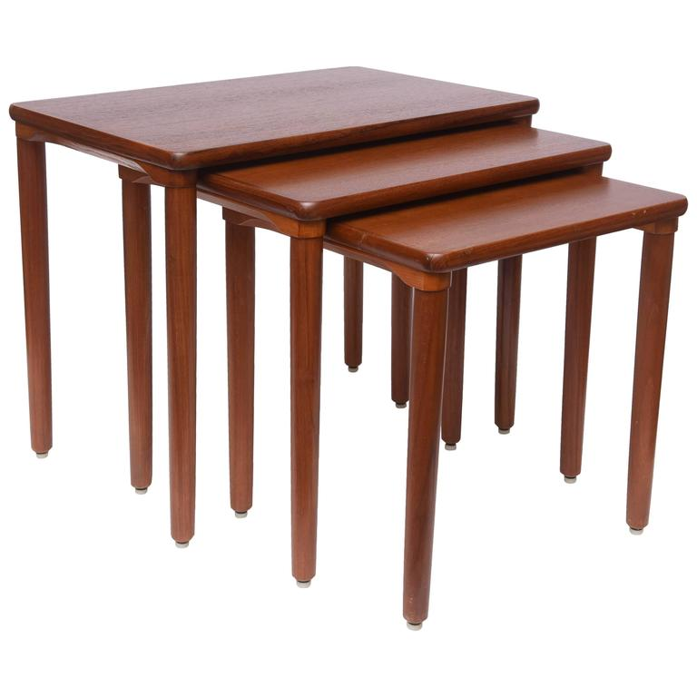 Teak Nesting Tables ~ Danish teak nesting tables by ew bach s denmark for