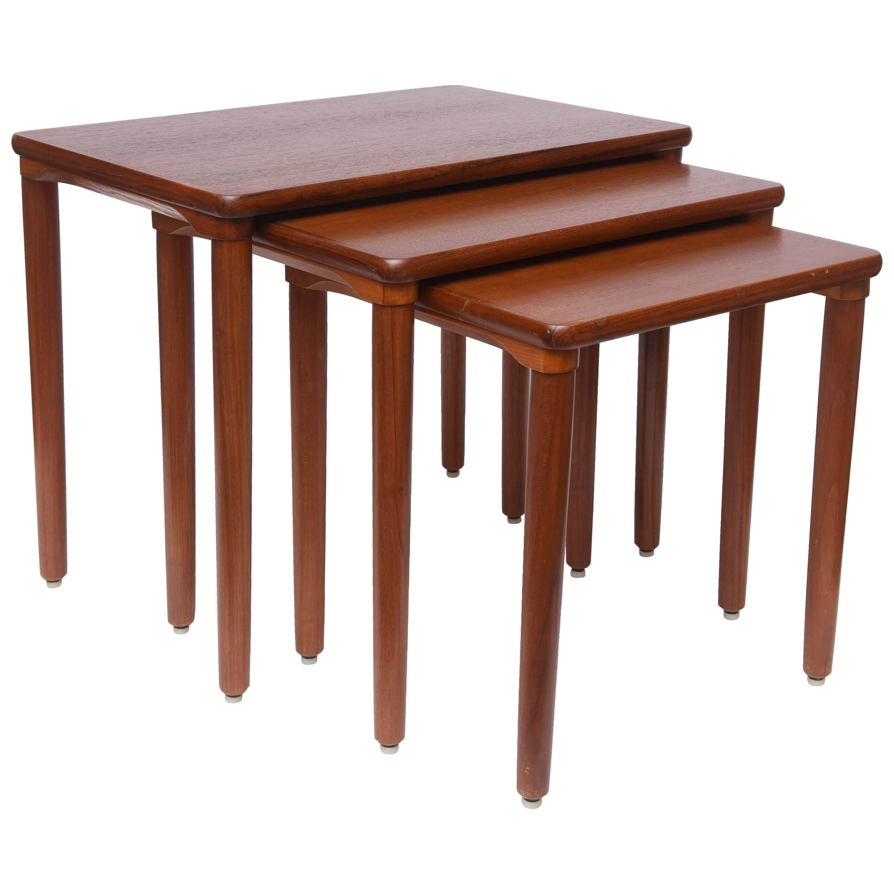 Danish Teak Nesting Tables by EW Bach, 1960s, Denmark