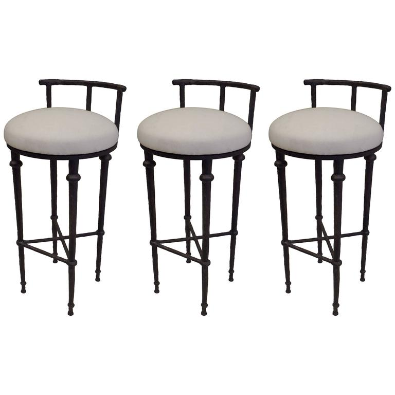 Three French Mid-Century Modern Neoclassical Solid Bronze Bar Stools, Giacometti 1