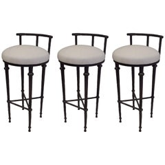 Three French Mid-Century Modern Neoclassical Solid Bronze Bar Stools, Giacometti