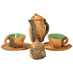 Vintage French Six-Piece Faux Bois Tea Set