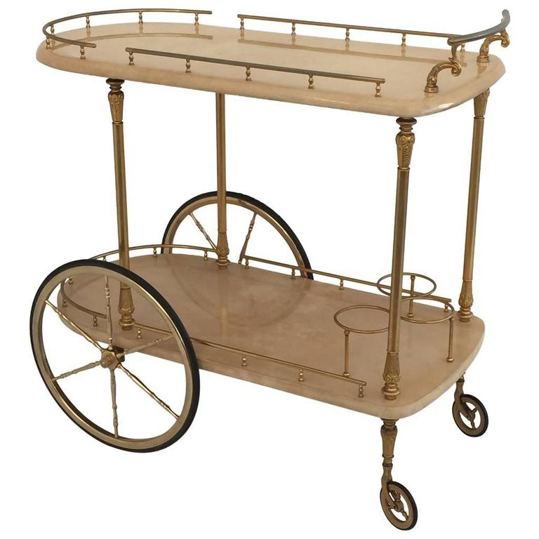 Aldo Tura Bar Cart in Cream Parchment