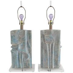 Brutalist Style Plaster Lamps in Aqua Blue Whitewash Finish