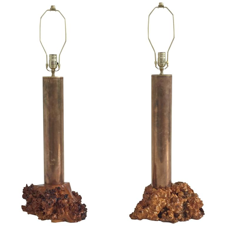 California Studio Modern Cylindrical Brass and Burl Wood Lamps